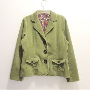Boden Green Corduroy Elbow Patch Blazer Jacket